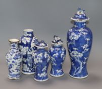 Five 19th century Chinese blue and white vases, three covers tallest 28cm