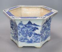 A Chinese blue white hexagonal large flower pot, Qianlong-Jiaqing period length 42cm