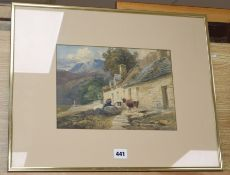 Attributed David Cox, watercolour, Figures and cow beside cottages, 21 x 29cm