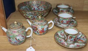 A group of mid 19th century Chinese famille rose tea wares and a bowl
