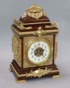 A French mahogany and brass mounted mantel clock, c1900