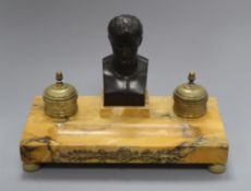 A Napoleonic style bronze and marble desk stand length 32cm