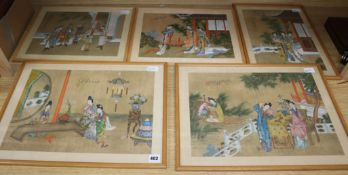 Five Chinese paintings on silk depicting ladies in gardens and interiors, 30 x 44cm