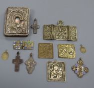 A group of Russian or Continental brass and metal icons, 19th/20th century