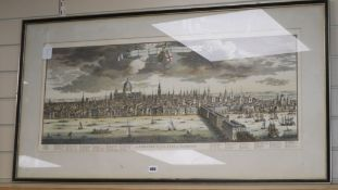 A reproduction engraved print, A Prospect of the City of London, 40 x 94cm