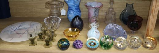 A collection of art glass and paperweights, some signed