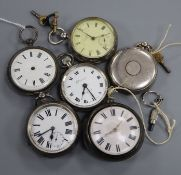 A 19th century silver pair of cased pocket watches by Manning, Steyning and five others.