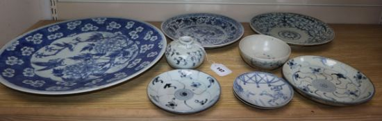 A group of Chinese blue and white dishes, a bowl and a jarlet, Ming-Qing charger diameter 41cm