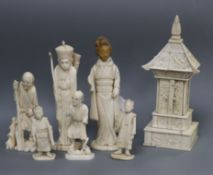 A Japanese sectional ivory model shrine and six ivory or bone figures shrine height 18cm