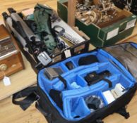 A collection of birdwatching equipment, including a Nikon ED Fieldscope, a Kalimar Super Telephoto
