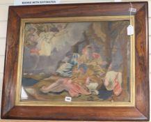 A framed 19th century silk needlework depicting a biblical scene