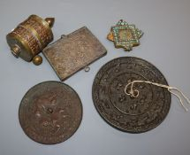 A group of Tibetan curiosities including a prayerwheel and mirrors, c.1850-1900