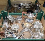 A quantity of assorted plated wares including a butter dish, hors d'oeuvres dish, flatware, tea