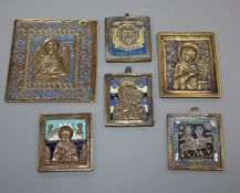 Six 19th century Russian brass and enamel icons