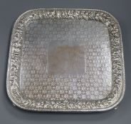 A good late 19th century Tiffany & Co. engraved sterling square salver, with embossed foliate