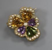 A yellow metal, coloured quartz and seed pearl set flower head brooch, 23mm.