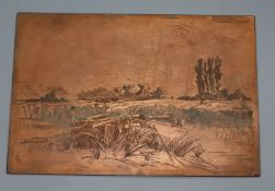 Three copper etching plates by TW Robinson and an etching of Lewes 1878 and three others Largest 6.5