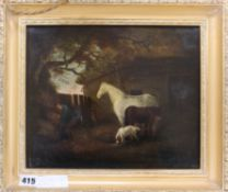 19th century English School, oil on panel, Farmyard scene with horses, dog and labourer, 24 x 29cm