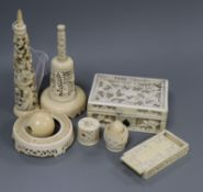 Two Chinese export ivory boxes and other similar ivory items, late 19th/early 20th century