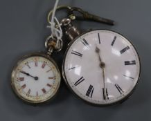 A 19th century silver pocket watch (originally pair-cased), C F, London and a ladies' silver open