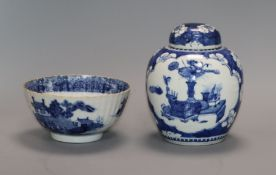 A Chinese ginger jar (Kangxi mark) and similar blue and white bowl jar overall 16cm