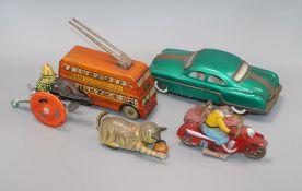 Five various tin plate toys