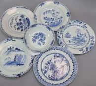 Five 18th century Chinese blue and white plates and a patty pan