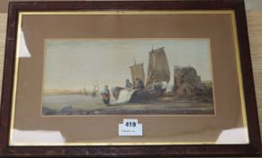 19th century English School, watercolour, Fisherfolk on the shore, 18 x 37cm.