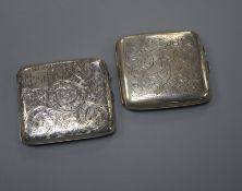 Two George V engraved silver cigarette cases, 93mm.