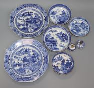 A pair of 18th century Chinese blue and white plates, four saucers and two covers