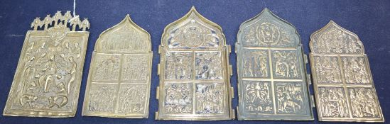 Five 19th century Russian cast brass icons tallest 16.5cm