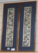 A pair of 19th century Chinese embroidered sleeve panels