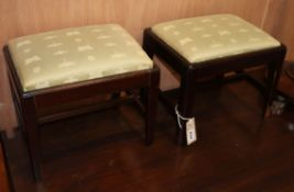 A pair of George III mahogany footstools W.31cm