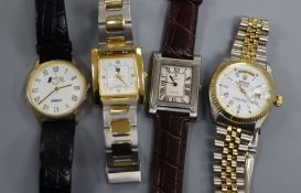 Four assorted gentleman's wrist watches.