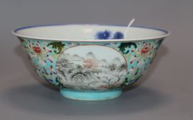 A Chinese turquoise ground medallion bowl, Daoguang mark but later diameter 15cm