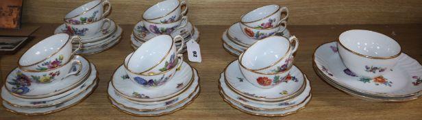 A Royal Copenhagen floral painted tea set
