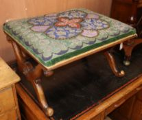 A Victorian mahogany X frame dressing stool with bead work seat