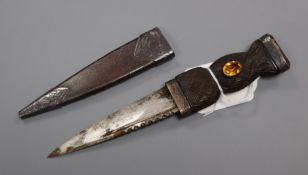 A Scottish silver and citrine set sgian dubh c.1900