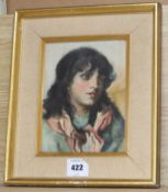 19th century English School, oil study of paper, Portrait of a youth, 21 x 16cm 8 x 6in.