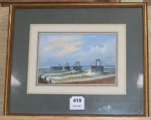 William Henry Earp, watercolour and gouache, The Old Chain Pier at Brighton, signed, 14 x 21cm