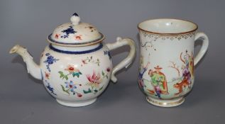 A Chinese export famille rose 'luohan' mug and a teapot and cover, Qianlong period tallest 16cm