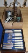 A cutlery box of fruit eaters, a lamp and mixed collectables