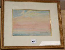Nina Winder Reid, watercolour, Sunset study, signed in pencil, 22 x 31cm