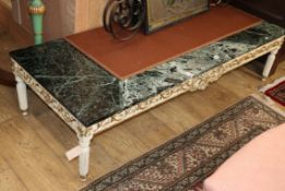 A painted marble top rectangular coffee table L.154cm