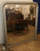 A Victorian overmantel mirror, later painted, H.140cm