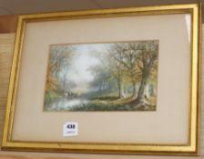 Warren Marke, watercolour, Cattle watering in woodland, signed, 19 x 30cm