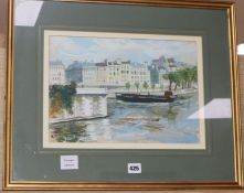 A. Wright, gouache, Canal scene, signed, 25 x 36cm