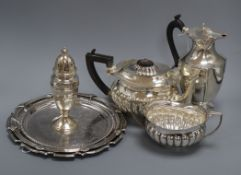 A modern silver salver (12.5oz) and sundry plated wares, including an oval half-fluted teapot and