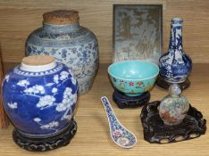 A Chinese blue and white jar, another and mixed Chinese ceramics