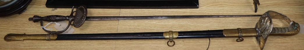A late 18th century self protection cut steel court sword and an RAF George VI replica dress sword